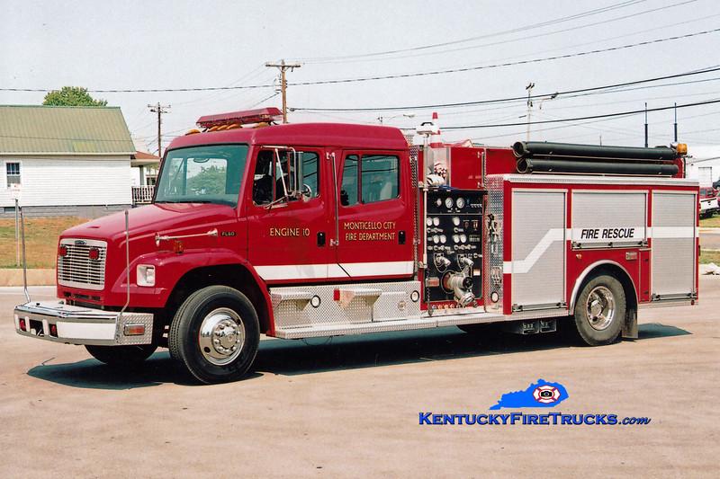 <center> Monticello Engine 10  <br> 2002 Freightliner FL80/American LaFrance 1250/500/Rescue <br> Greg Stapleton photo </center>