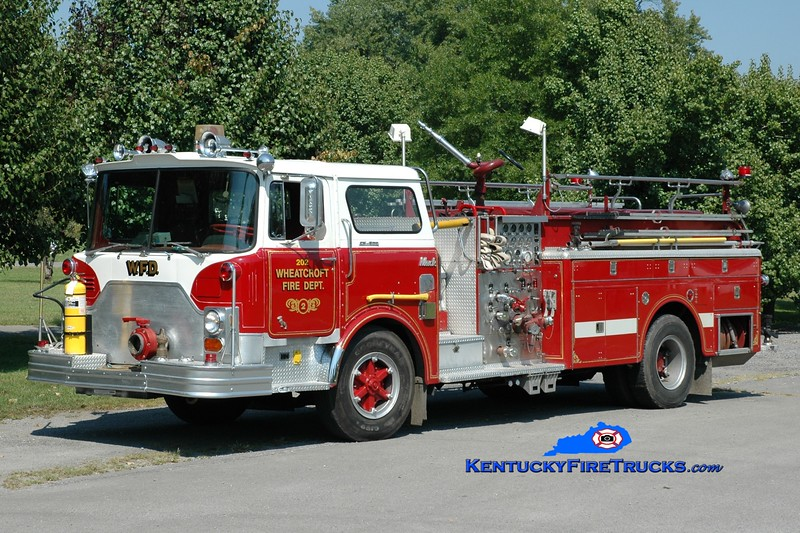 <center> RETIRED <br> Wheatcroft  Engine 202  <br> x-Elmont, NY <br> 1975 Mack CF 1250/500 <br> Greg Stapleton photo </center>