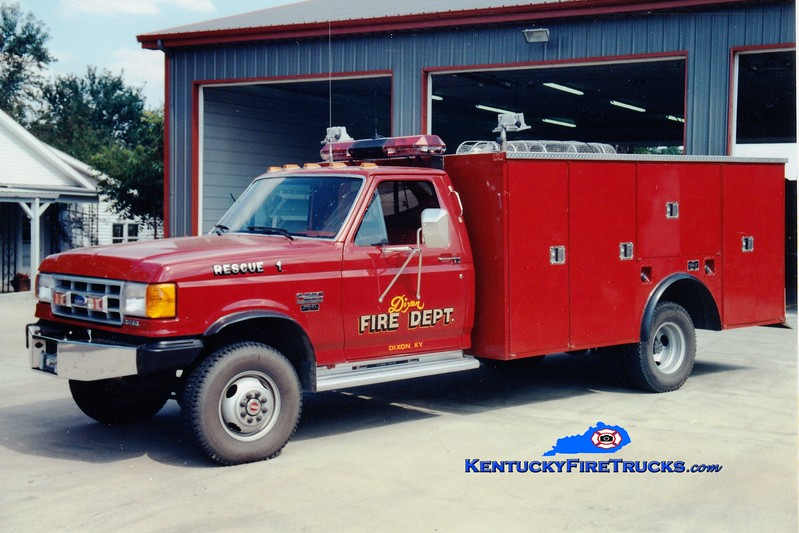<center> *Refurbished and reassigned as Rescue 105 <br> Dixon  Rescue 1 <br> 1991 Ford F-350/Stahl/ETE <br> Greg Stapleton photo </center>