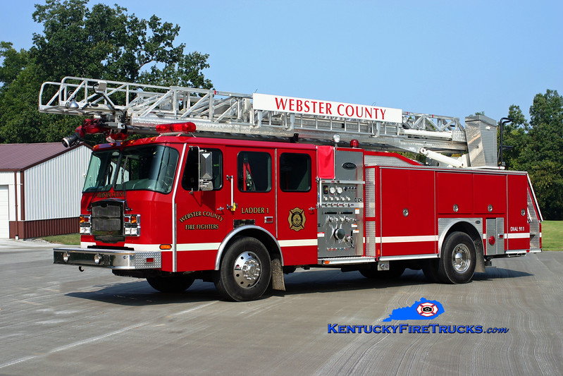 <center> Dixon-Webster County  Ladder 1  <br> 2007 E-One Typhoon 1250/500 <br> Kent Parrish photo </center>