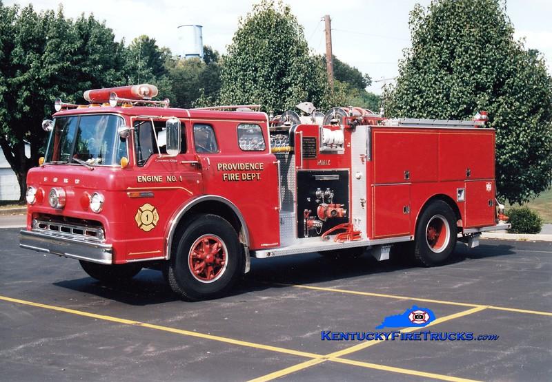 <center> (NO LONGER IN SERVICE) <br> Providence Engine 1<br> 1984 Ford C-8000/Darley 1000/750 <br> Greg Stapleton photo </center>