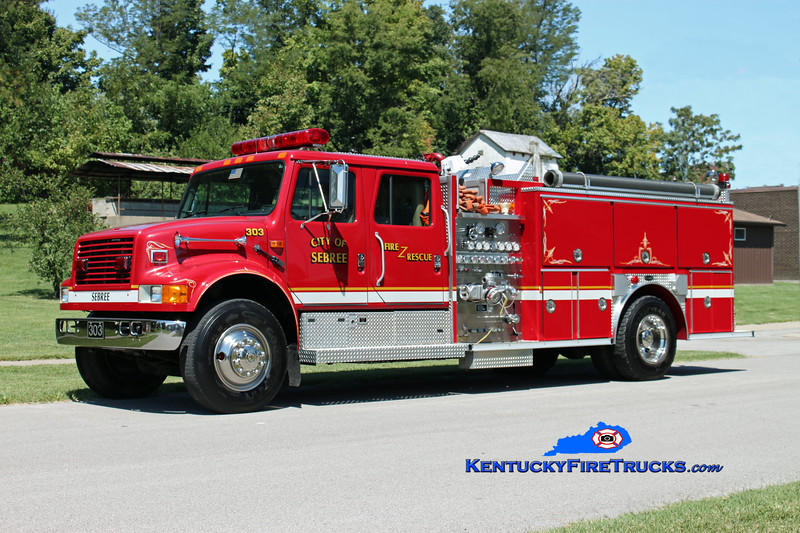 <center> Sebree  Engine 303 <br> 1993 International 4900/E-One 1250/1000 <br> Kent Parrish photo </center>