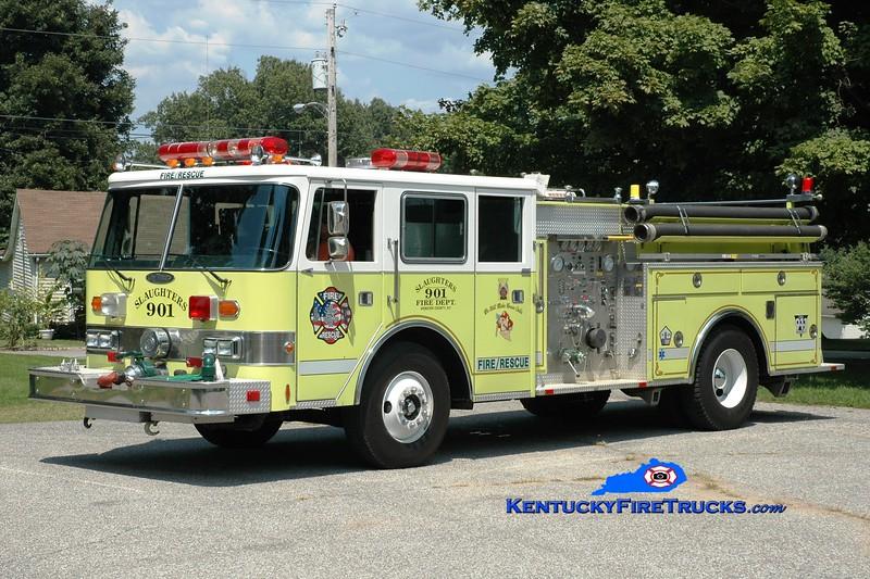 <center> Slaughters Engine 901 <br> x-United Communities, MD <br> 1986 Pierce Arrow 1000/750 <br> Greg Stapleton photo </center>