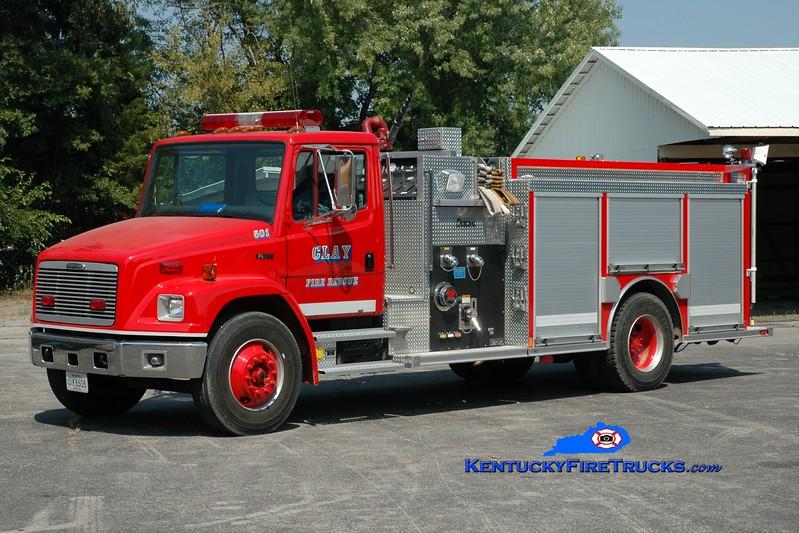 <center> Clay  Engine 501  <br> 2002 Freightliner FL70/Central States 1250/1000 <br> Greg Stapleton photo </center>