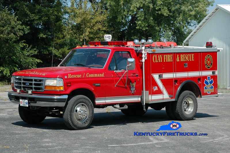 <center> Clay  Rescue 505  <br> x-German Twp, IN <br> 1997 Ford Super-Duty 4x4/1976 Pierce  <br> Greg Stapleton photo </center>