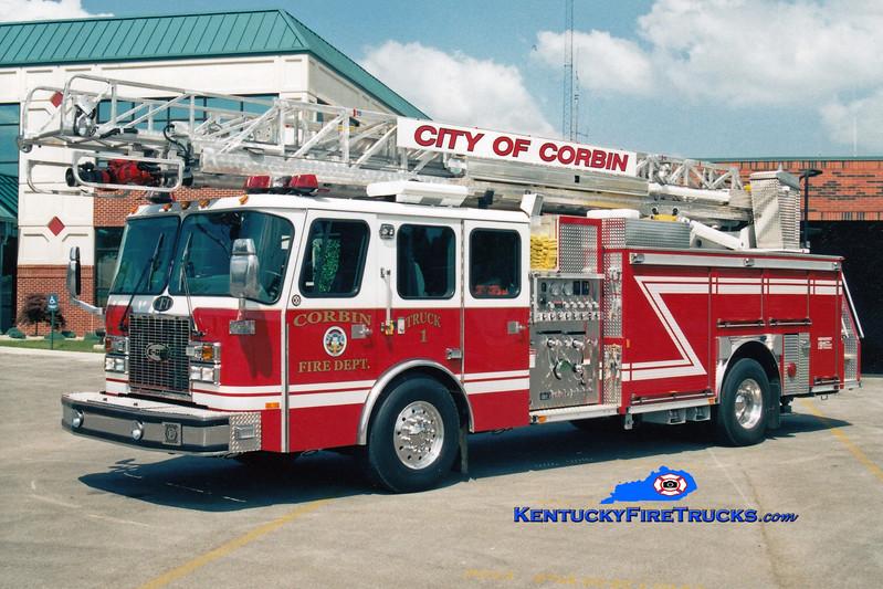 <center> Corbin  Truck 1  <br> 2001 E-One Cyclone II 2000/500/75' <br> Greg Stapleton photo </center>