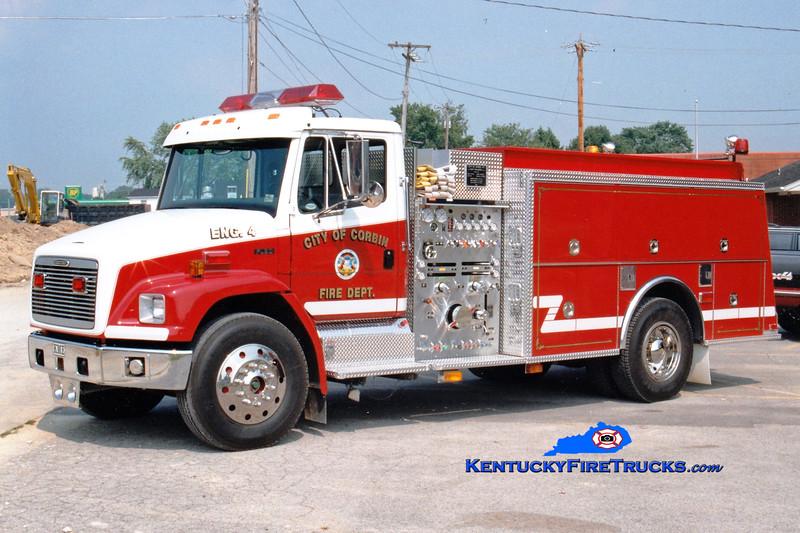 <center> Corbin  Engine 4  <br> 1997 Freightliner FL80/KME 1250/750 <br> Greg Stapleton photo </center>