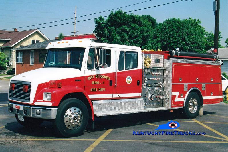 <center> RETIRED <br> Corbin  Engine 1  <br> 1993 Freightliner FL80/KME 1250/1000 <br> Greg Stapleton photo </center>