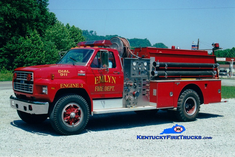 <center> Emlyn  Engine 3 <br> x-Jonesborough, TN <br> 1984 Ford F/Grumman 750/750 <br> Greg Stapleton photo </center>