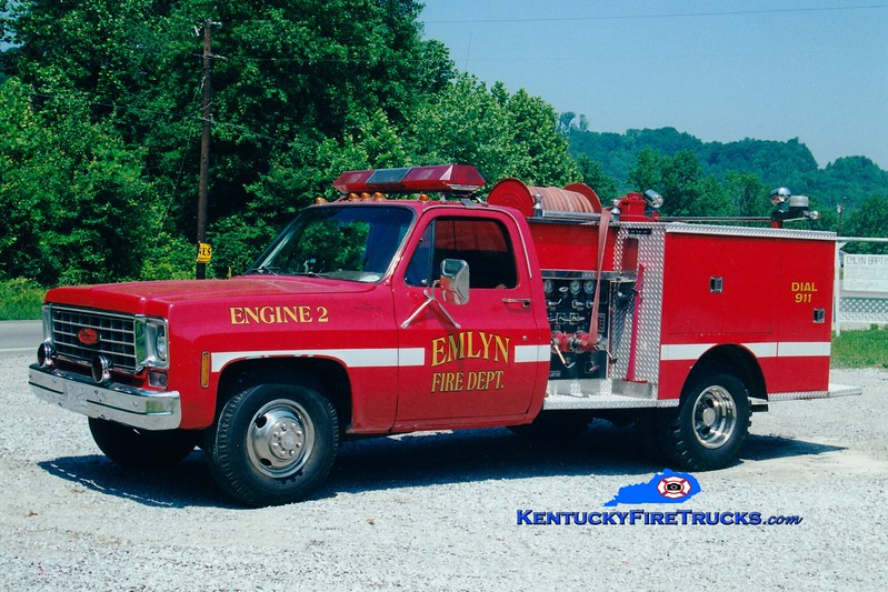 <center> Emlyn  Engine 2 <br> x-Rockcastle County, KY <br> Rechassis in 1995 <br> 1975 Chevy/Pierce 300/250 <br> Greg Stapleton photo </center>