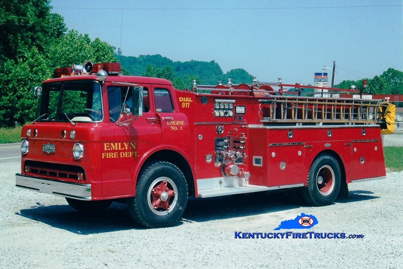 <center> RETIRED <br> Emlyn  Engine 1 <br> x-Fern Creek, KY <br> 1964 Ford C-900/Pirsch 1000/500 <br> Greg Stapleton photo </center>
