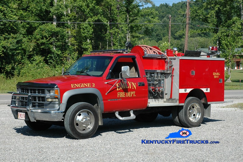 <center> Emlyn  Engine 2 <br> Rechassis of older unit <br> 1995 Chevy 3500 4x4/1975 Pierce 300/250 <br> Greg Stapleton photo </center>