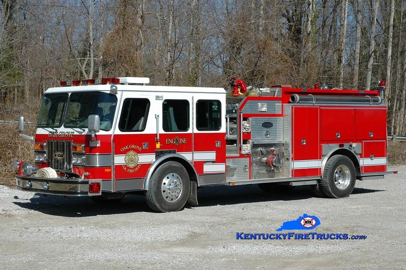 <center> Oak Grove  Engine 8 <br> x-Bell County, KY <br> 1993 E-One Cyclone TC 1250/1250 <br> Greg Stapleton photo </center>