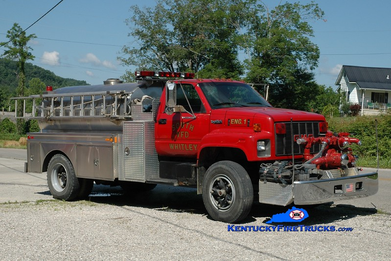 <center> South Whitley  Engine 1 <br> 1994 GMC TopKick/Bluegrass 750/1600 <br> Greg Stapleton photo </center>