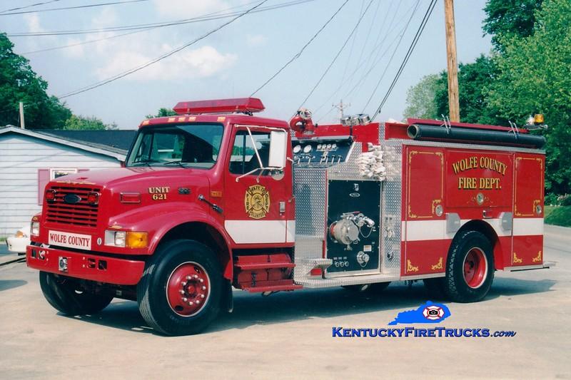 <center> Wolfe County  Engine 621  <br> 1999 International 4900/Pierce 1250/1000 <br> Greg Stapleton photo </center>