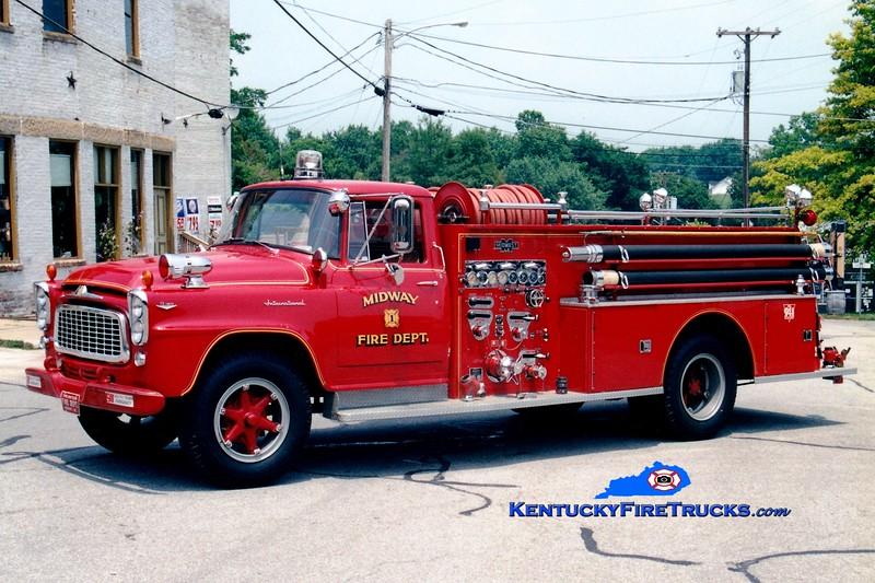 <center> RETIRED <br> Midway  Engine 1 <br> 1962 International B180/Boyer 750/500 <br> Greg Stapleton photo </center>