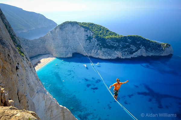 Samuel Volery walks the 570m line at Zakinthos with an international team of highliners to rig the first highlines above the worldwide known shipwreck beach (Navagio beach) 16/10/2017 Photo by: Aidan Williams