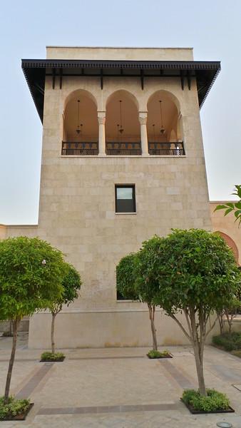Tower balcony.  Ismaili Centre, Dubai.