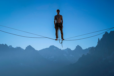 Maximilien Penel stands in exposure position in Les Brevent, Mont Blanc, chamonix, France. 7/8/2017, Photo by: Aidan Williams
