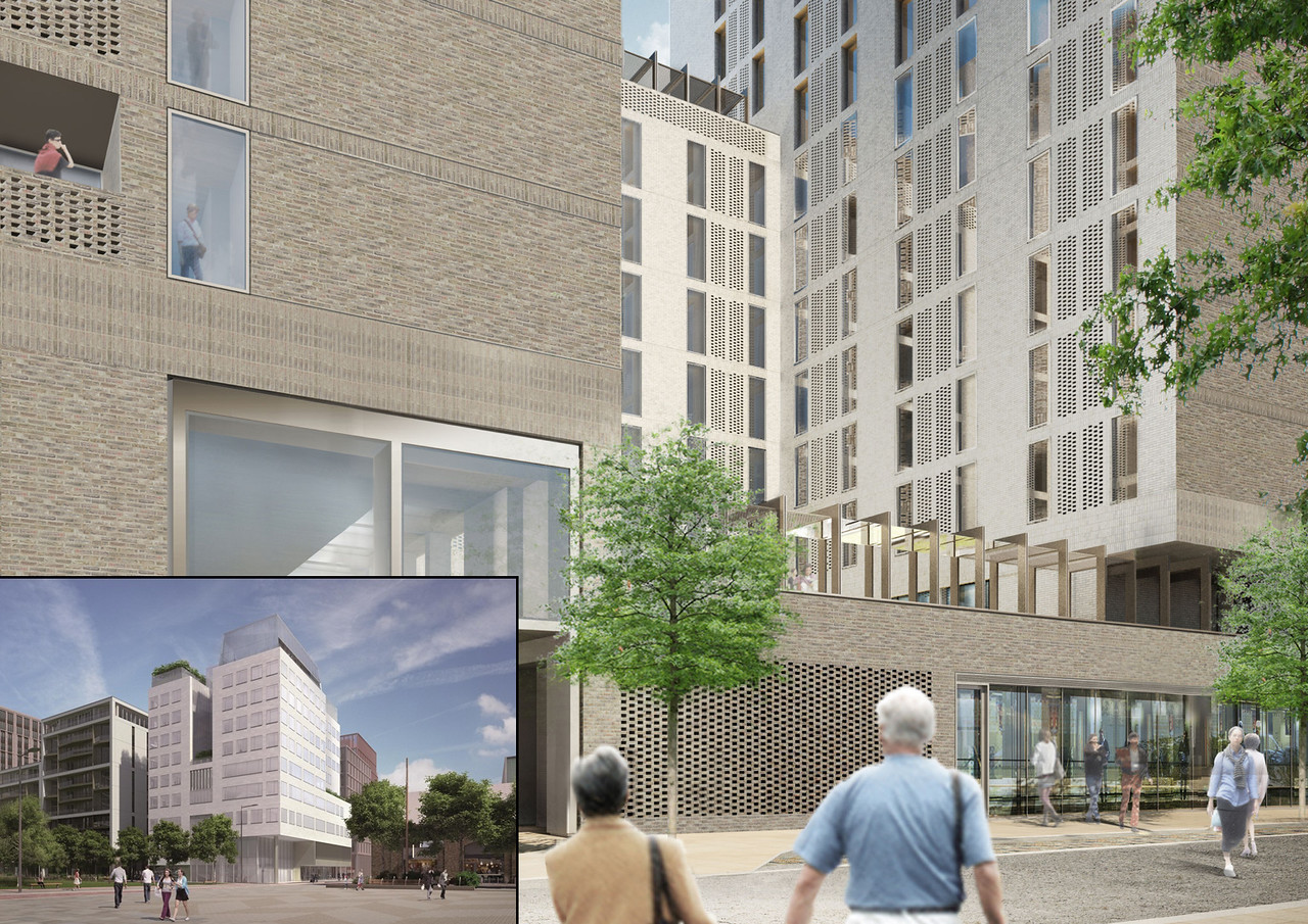 Renderings of two of the buildings within the AKDN's Kings Cross Campus.