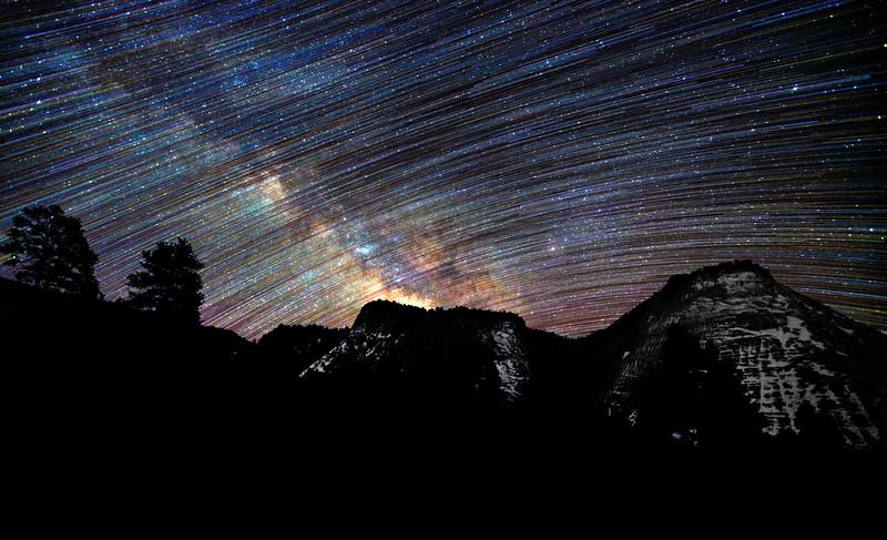Checkerboard Mesa Star Trail - Zion National Park, Utah.