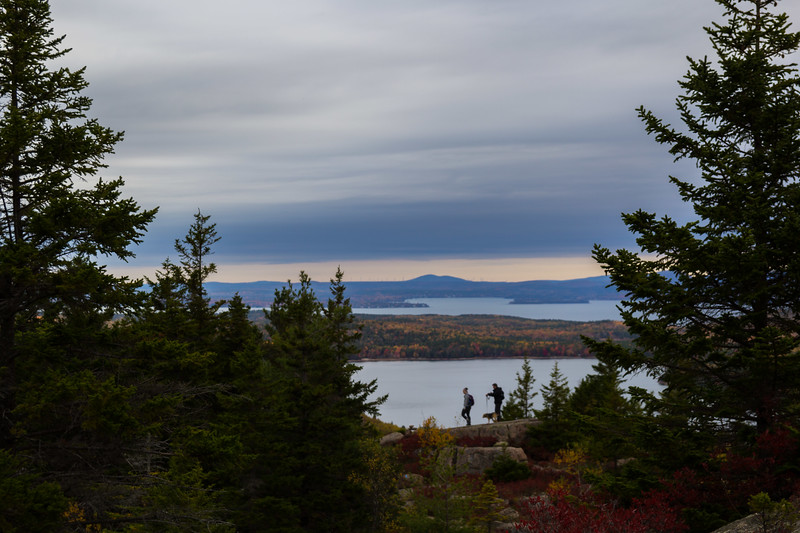 Hikers and Their Dog in Acadia National Park in Maine