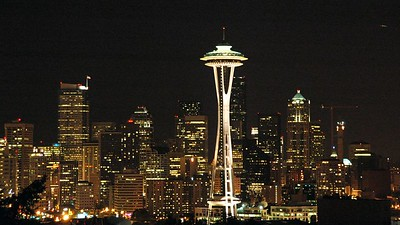 Downtown Seattle at night time