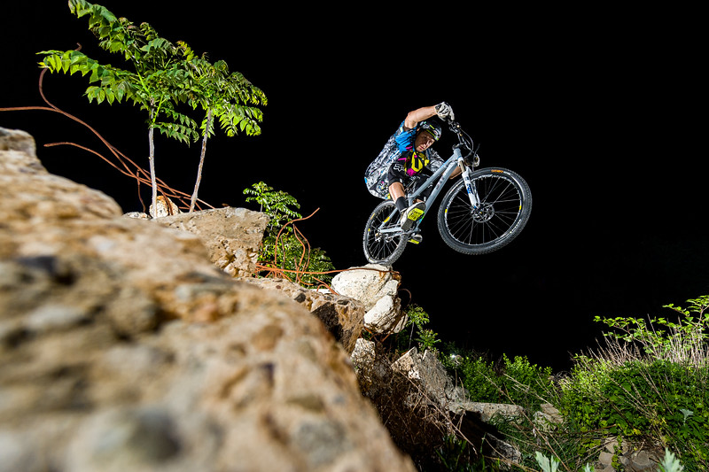 Jeff Lenosky performing mountain bike trials in New Jersey