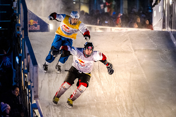 Event: Red Bull Crashed Ice Location: Quebec, Quebec Athlete: Scott Croxall and Paavo Klintrup