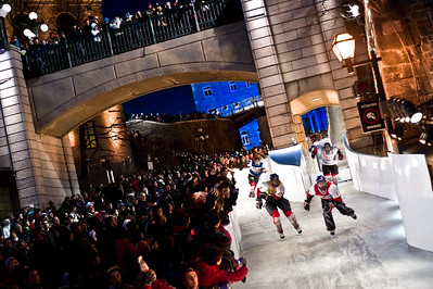 Event: Red Bull Crashed Ice Location: Quebec, Quebec Athlete: Lukas Kolc, Greg Davis, Alex Bourassa and Reto Mader