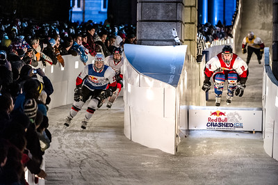 Event: Red Bull Crashed Ice Location: Quebec, Quebec Athlete: Gabriel Andre and Martin Niefnecker