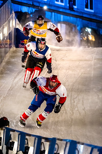 Event: Red Bull Crashed Ice Location: Quebec, Quebec Athlete: Kilian Braun, Sebastien Morissette, and Mark Arnold