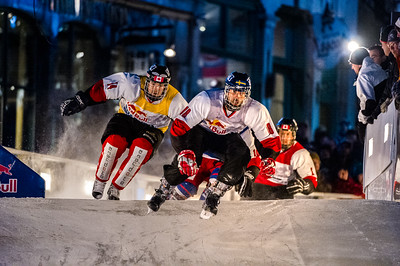 Event: Red Bull Crashed Ice Location: Quebec, Quebec Athlete: Jasper Felder and Sebastien Morissette