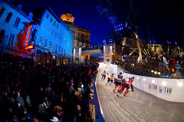 Event: Red Bull Crashed Ice Location: Quebec, Quebec Athlete: Kim Muller, Scott Meyerhoff, Bruno Richard and Gary Hudson