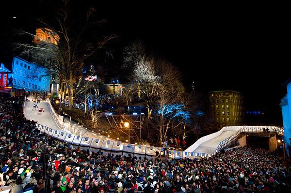 Event: Red Bull Crashed Ice Location: Quebec, Quebec Athlete: Kerri Muir, Kailee Ryan, Megan Vermillon, and Salla Kyhala