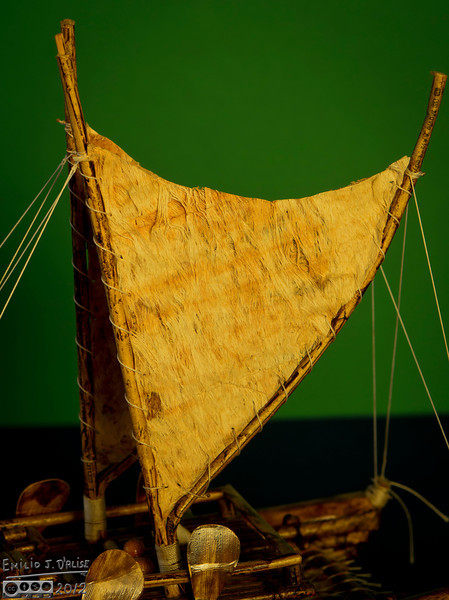 The sails are some kind of natural fiber . . . almost like a tree bark.