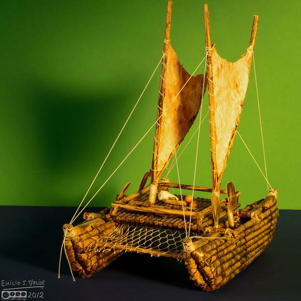 Maori canoe (or waka) model.