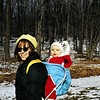 Out for a winter walk.  Gordon looked like a little Christmas elf in that red and white snow suit.  We took him everywhere in that backpack.  We never even bought a stroller.