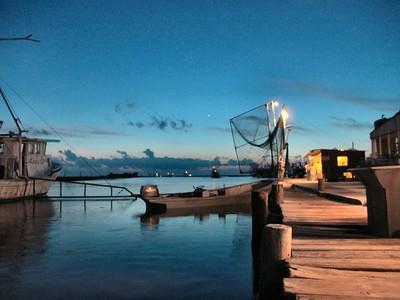 Shrimp Boats at night along Robinson Canal