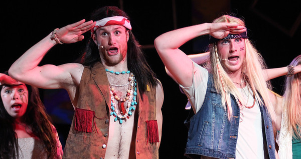 Richard Walden and Cressler Peele perform in Pauper Players' production of Hair.