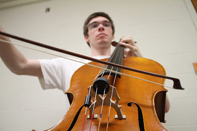 Sophomore John Reardon, a music and history major from Greensboro, plays with his group called the University Chamber Players. They rehearsed this afternoon for their concert on Wednesday.