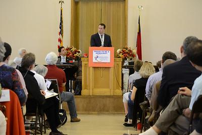 Keynote speaker, Cal Cunningham, former state senator, speaks at the Orange County Democratic Party Convention.