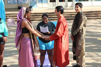 """Sagam and BSM, two UNC student groups, had a mock wedding in the pit on Tuesday April 16th. """"We did it to show how there can be a blending of two cultures through a wedding,"""" said Sonal Raval, a member of Sagam. Bride (left)- Alexis Davis, preacher (middle)-Kristen Johnson, Groom (right)- Rohan Surati."""