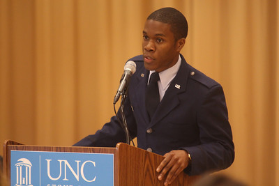 Cadet Micah Paulson gave the opening remarks at the inaugural military graduation.