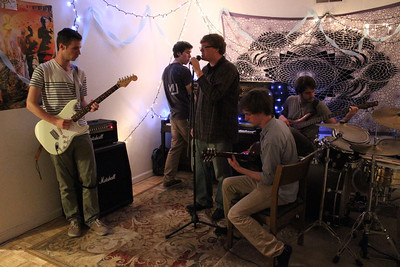 UNC Students Justin Bucher, Nick Peterson, Quinton Grady, Alex Joiner and Jorge Martinez-Blat (left to right) are members of the band Sky Cloud.