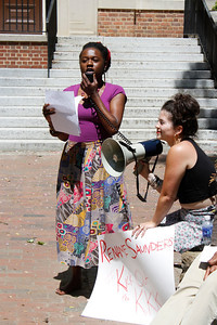 Taylor Webber-Fields and Blanche Brown speak at a rally Wednesday afternoon. People rally outside of Saunders Hall Wednesday afternoon. The Real Silent Sam Coalition is calling for the Board of Trustees to rename the building, because its namesake, William L. Saunders, directed North Carolina KKK activities in the late 1860s.