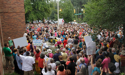 Moral Monday protest/rally in Peace and Justice Plaza in Chapel Hill, NC on August 28.