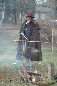 The 13th Annual Revolutionary War Day will be Saturday-- commemorating British General Cornwallis's week-long occupation of Hillsborough in February 1781.   All activities take place on the grounds of the Alexander Dickson House.  Todd Dickson stands in full authentic uniform outside of the Alexander Dickson House.