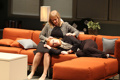 "Arielle Yoder (right) and Julia Gibson and perform in ""Love Alone,"" presented by the Playmakers Repertory Company starting Feb. 26 and continuing through March 16. Playmakers' production of Deborah Salem Smith's story of grief and healing will be performed in the Paul Green Theatre at UNC's Center for Dramatic Art. Individual ticket prices start at $15."