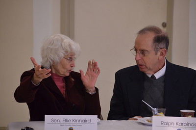 SEn. Ellie Kinnaird and Ralph Karpinos speak during the meeting.  Chapel Hill and Carrboro officials had breakfast with the local General Assembly members Tuesday morning.Chapel Hill and Carrboro town council members had breakfast with the local General Assembly members Tuesday morning.